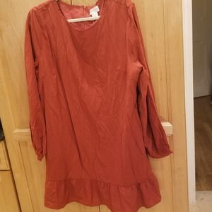 Apricot Long Sleeve Dress Rust Color XL NWT